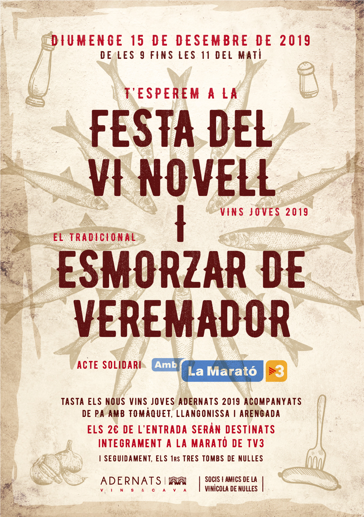 XXIV Adernats Novell Wine Festival in solidarity with the Tv3 Marathon